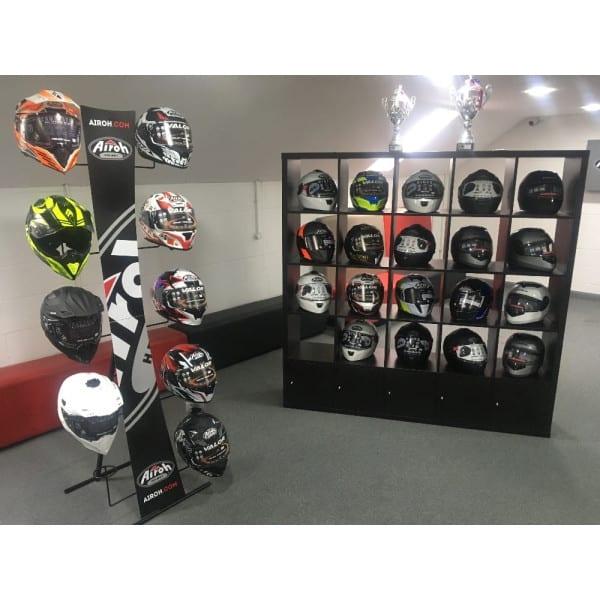 Helmets on display